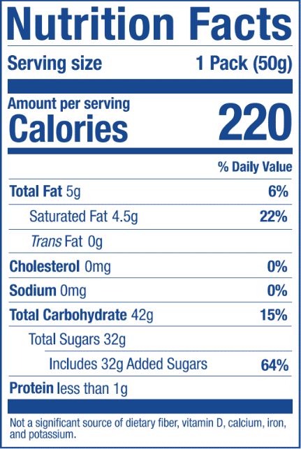 Nutrition Label for Acai Stick