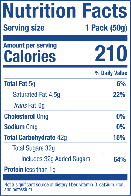 Nutrition Label for Banana Stick
