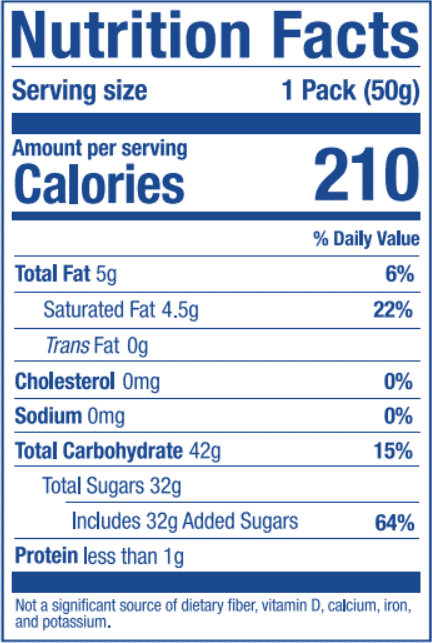 Nutrition Label for Grape Stick