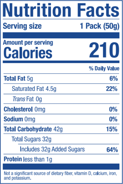 Nutrition Label for Mango Stick
