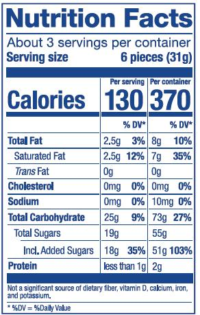 Nutrition Label for Plus Fruit Mix Bag