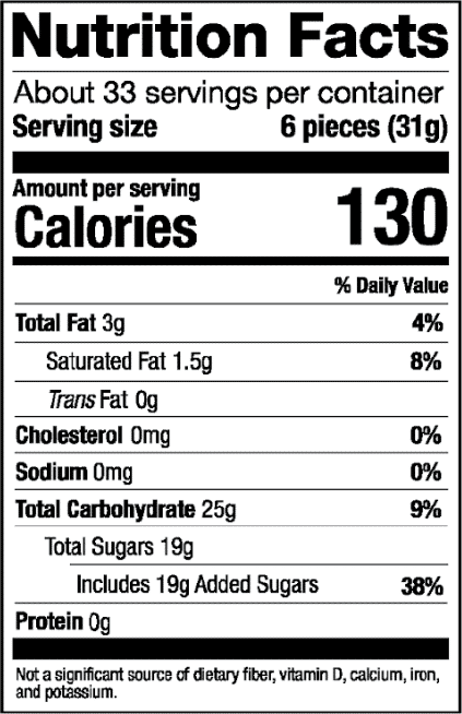 Nutrition Label for Assorted Bulk