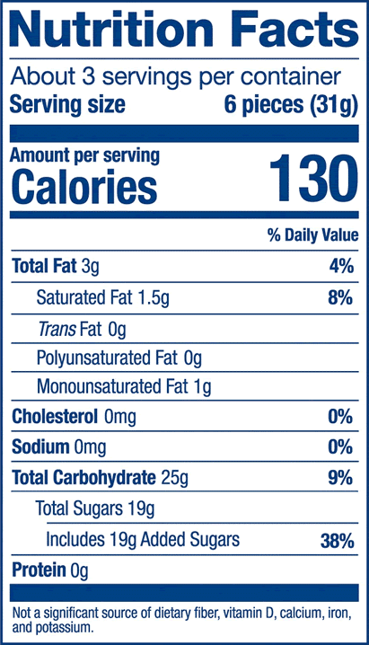 Nutrition Label for Strawberry Peg Bag