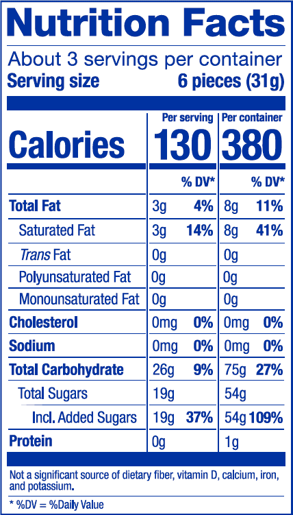 Nutrition Label Superfruit Mix Bag