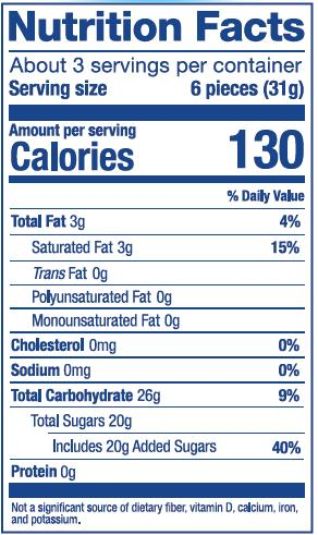 Nutrition Label for Tropical Mix Bag