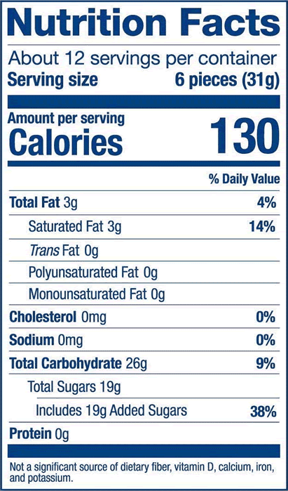 Nutrition Label for Tropical Mix Stand Up Pouch
