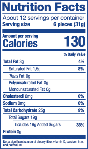 Nutrition Label for Original Mix Stand Up Pouch