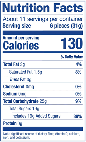 Fruit Combos Stand Up Pouch Nutrition Label