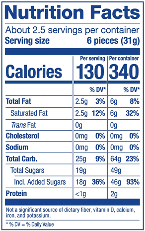 Plus Fruit Mix Bag Nutrition Label