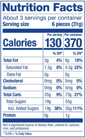 Berry Mix Nutrition Label